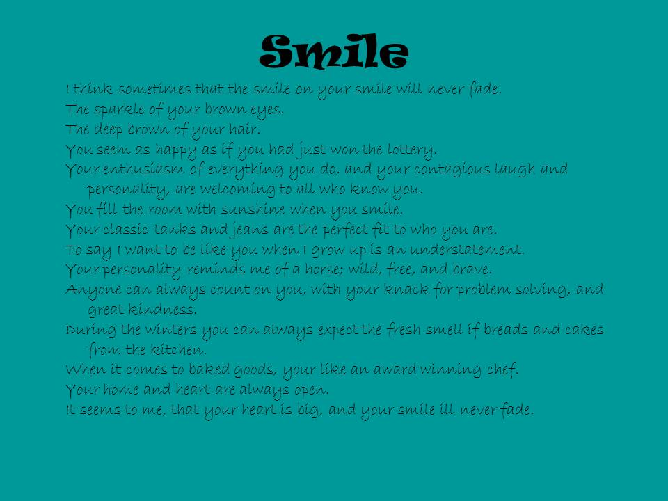 "Image of 15-Sentence Portrait Poem ""Smile"""