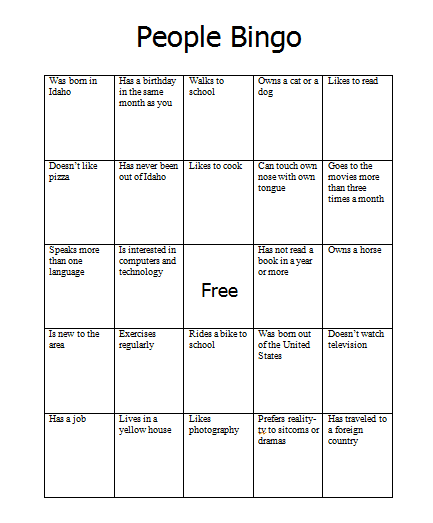 People Bingo on ice breaker bingo free printable