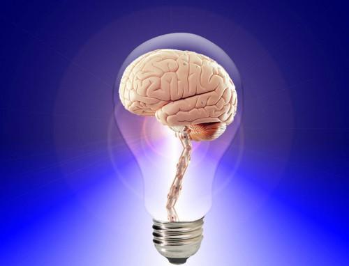 Image of brain inside light bulb.