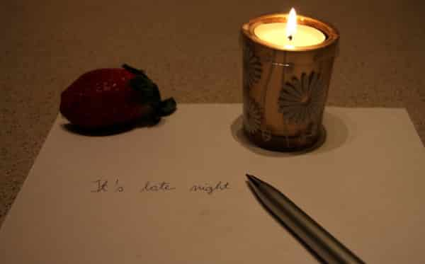 Picture of candle and pen