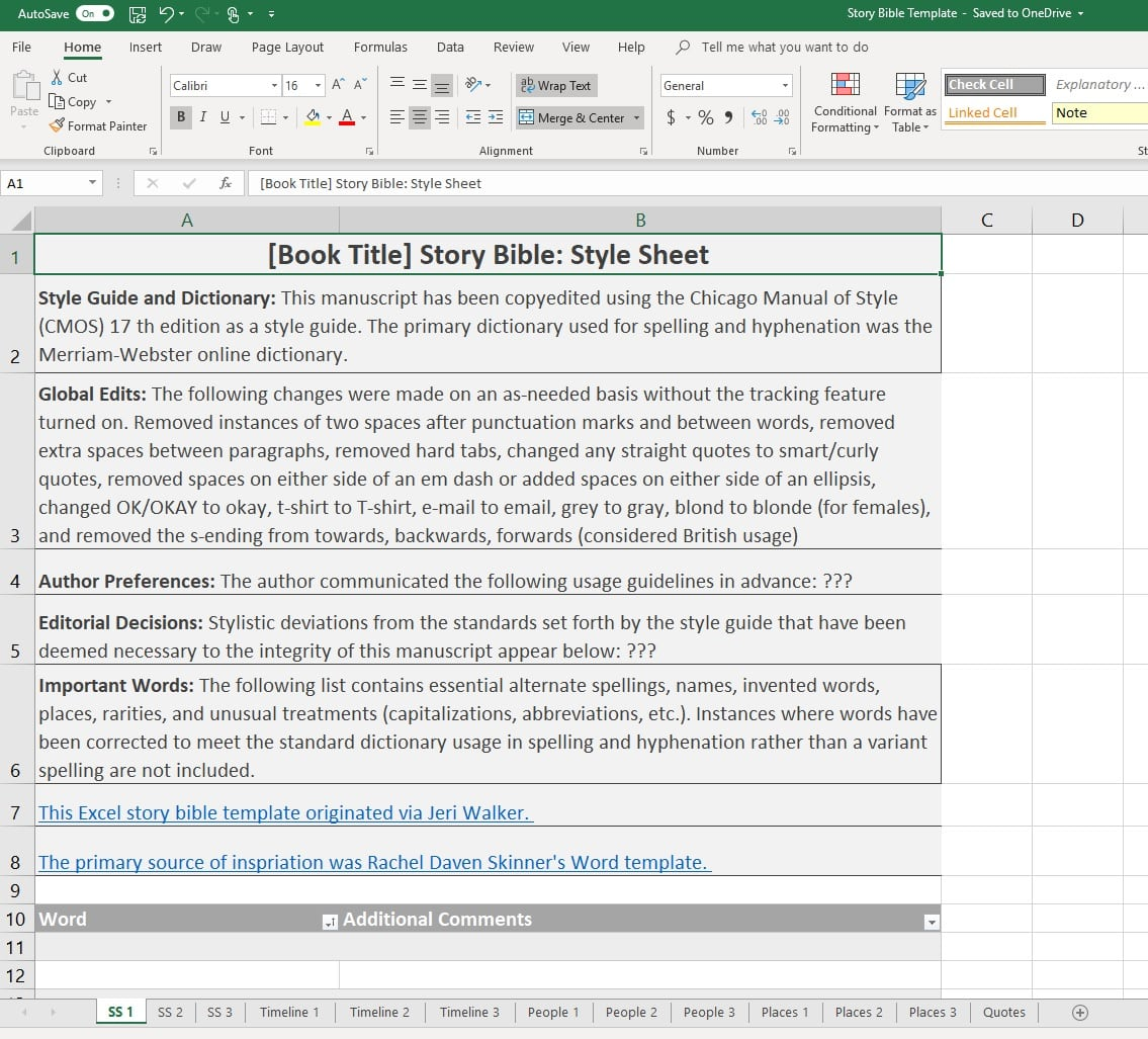 Image of story bible spreadsheet