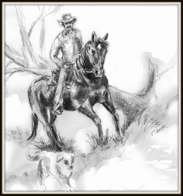 Illustration of cowboy on horse
